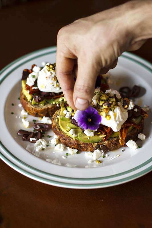 Sundried tomato, black kalamata olives, guacamole, poached eggs, feta cheese, lemon zest and pistaccio dukkah